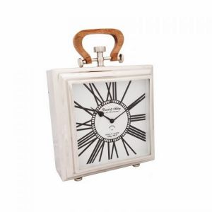 DANIEL & ASHLEY Large Desk Clock with White Square Face and Wood Handle - Nickel