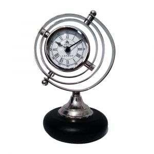 HALAFAX BOND STREET GLOBE Small Round Desk Clock - Nickel with White Face