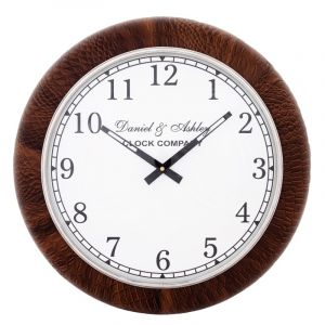 DANIEL & ASHLEY LEATHER COLLECTION Medium 46cm Wall Clock - Brown Surround