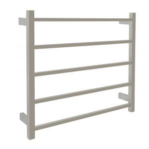 AGUZZO EZY FIT Dual Wired Square Tube Heated Towel Rail 75 x 70cm - Polished SS