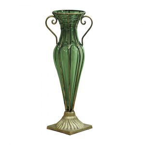 SOGA 47cm Tall Glass Vase - Green with Gold Base and Handles