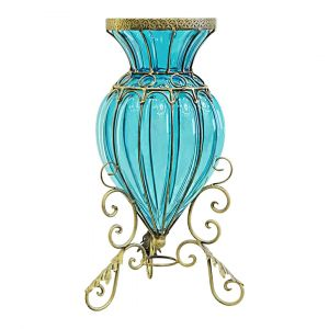SOGA 40cm Tall Glass Vase - Blue with Gold Base and Handles