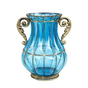 SOGA 26cm Tall Glass Vase - Blue with Gold Base and Handles