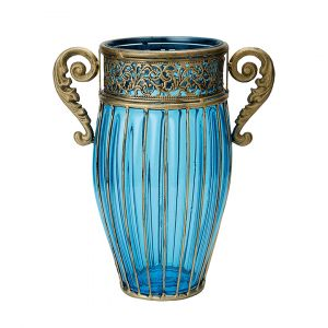 SOGA 27cm Tall Glass Vase - Blue with Gold Handles