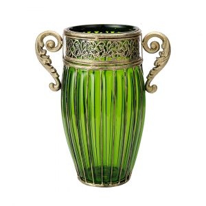 SOGA 27cm Tall Glass Vase - Green with Gold Handles