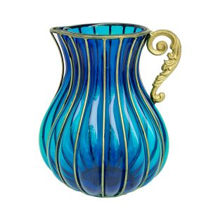 SOGA 29cm Tall Glass Jug Style Vase - Blue with Gold Handle