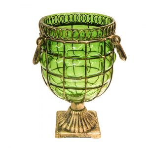 SOGA 26cm Tall Glass Vase - Green with Gold Base and Handles