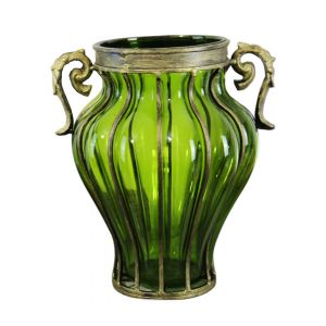SOGA 33cm Tall Glass Vase - Green with Gold Handles
