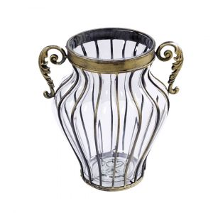 SOGA 33cm Tall Glass Vase - Clear with Gold Handles