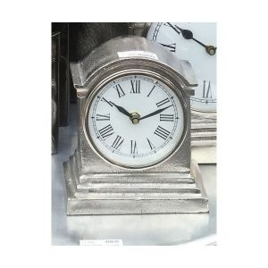 HUTT Small Table Clock with Round White Face - Nickel