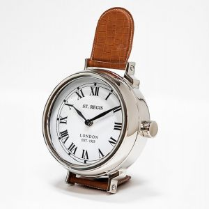 SAINT REGIS 29cm Tall Desk Clock with Brown Leather Band and White Face - Nickel