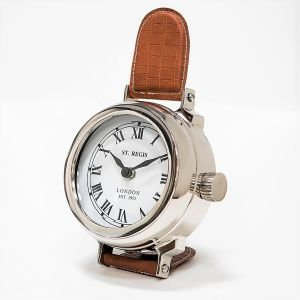 SAINT REGIS 23cm Tall Desk Clock with Brown Leather Band and White Face - Nickel