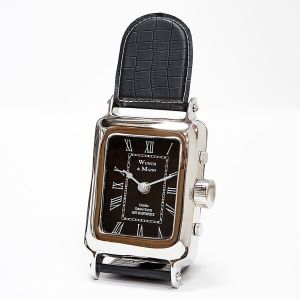 WUNCH & MANN 26cm Tall Desk Clock with Black Leather Band and Black Face - Nickel