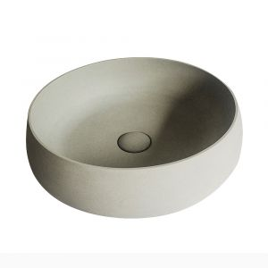 MOKU 44cm Wide Round Basin - Solid Limestone with Matte Stone Finish