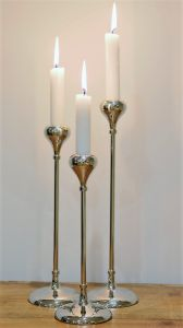 Set of 3 TEAR DROP 24 28 and 32cm Tall Single Candle Holders - Polished Nickel