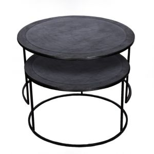 Set of 2 PHILIP 61 and 76cm Wide Nesting Coffee Tables - Black Nickel
