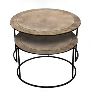 Set of 2 PHILIP 61 and 76cm Wide Nesting Coffee Tables - Brass