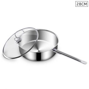 SOGA 28cm Stainless Steel Saucepan with Glass Lid