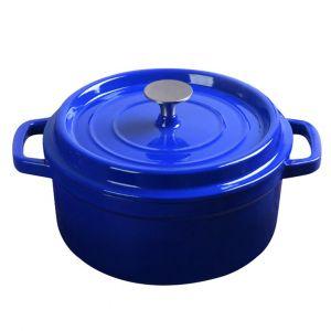 SOGA 24cm Wide 3.6 Litre Cast Iron Casserole Pot - Blue