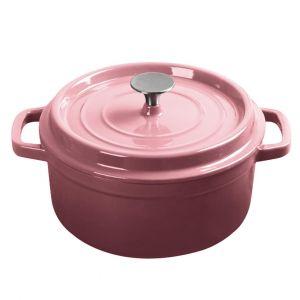 SOGA 24cm Wide 3.6 Litre Cast Iron Casserole Pot - Pink