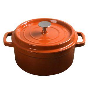 SOGA 26cm Wide 5 Litre Cast Iron Casserole Pot - Orange