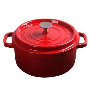 SOGA 26cm Wide 5 Litre Cast Iron Casserole Pot - Red