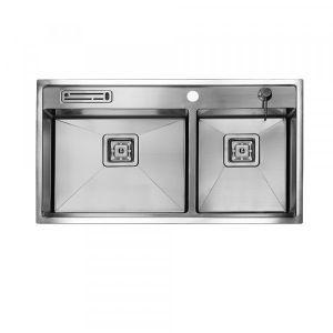 SWEDIA KIKKI Kitchen Chef Sink 820mm 60:40 Bowl - 1.5mm Thick Stainless Steel