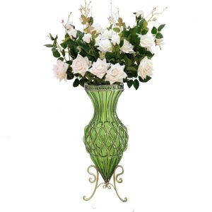 SOGA 67cm Tall Glass Floor Vase - Green and Gold with White Artificial Roses