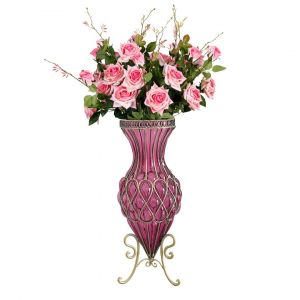 SOGA 67cm Tall Glass Floor Vase - Purple and Gold with Pink Artificial Flowers
