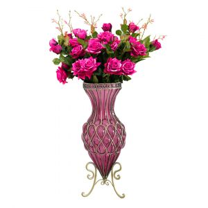 SOGA 67cm Tall Glass Floor Vase - Purple and Gold with Dark Pink Artificial Flowers