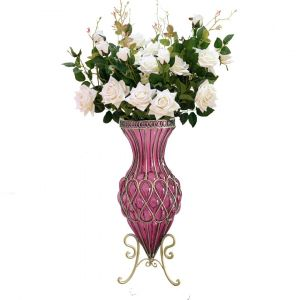SOGA 67cm Tall Glass Floor Vase - Purple and Gold with White Roses Flowers