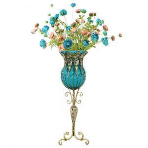 SOGA 85cm Tall Glass Floor Vase - Bllue and Gold with 12 Blue Artificial Flowers
