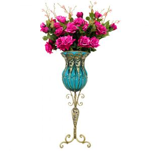 SOGA 85cm Tall Glass Floor Vase - Bllue and Gold with Dark Pink Artificial Flowers