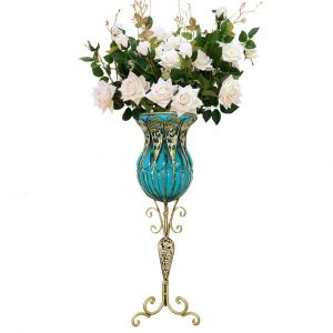SOGA 85cm Tall Glass Floor Vase - Bllue and Gold with White Artificial Flowers