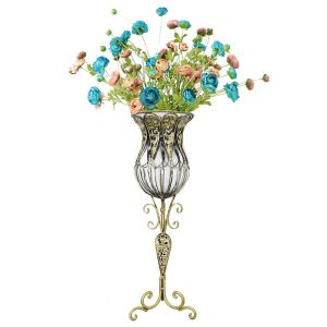 SOGA 85cm Tall Glass Floor Vase - Clear and Gold with Mixed Artificial Flowers