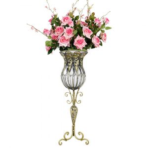 SOGA 85cm Tall Glass Floor Vase - Clear and Gold with Pink Artificial Flowers