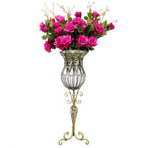 SOGA 85cm Tall Glass Floor Vase - Clear and Gold with Dark Pink Artificial Flowers
