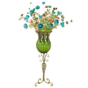 SOGA 85cm Tall Glass Floor Vase - Green and Gold with 12 Blue Artificial Flowers