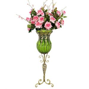SOGA 85cm Tall Glass Floor Vase - Green and Gold with Pink Artificial Flowers