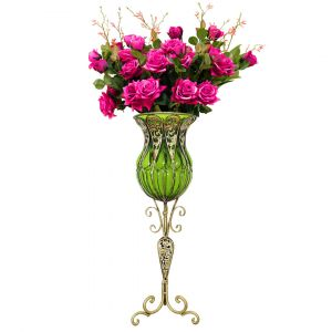 SOGA 85cm Tall Glass Floor Vase - Green and Gold with Dark Pink Artificial Flowers