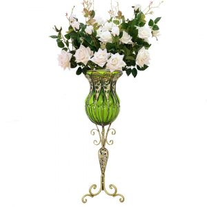 SOGA 85cm Tall Glass Floor Vase - Green and Gold with White Artificial Flowers