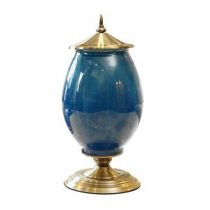 SOGA 40.5cm Ceramic Oval Vase - Dark Blue and Gold
