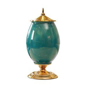 SOGA 40.5cm Ceramic Oval Vase - Green and Gold