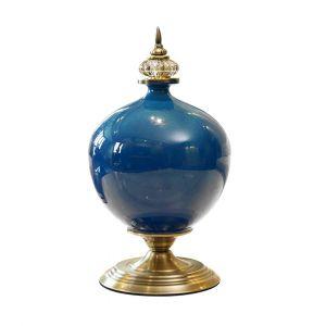 SOGA 38.5cm Tall Ceramic Vase - Dark Blue and Gold