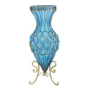 SOGA 65cm Tall Glass Floor Vase - Blue and Gold