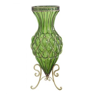 SOGA 65cm Tall Glass Floor Vase - Green and Gold