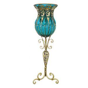 SOGA 85cm Tall Glass Floor Vase - Blue and Gold