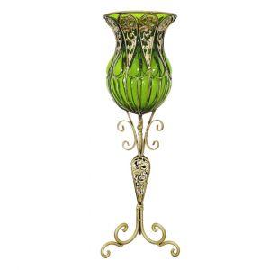 SOGA 85cm Tall Glass Floor Vase - Green and Gold