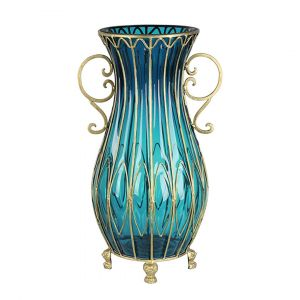 SOGA 50cm Tall Glass Oval Floor Vase - Blue and Gold
