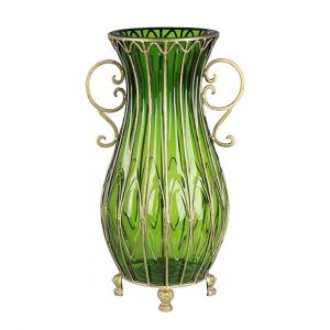 SOGA 50cm Tall Glass Oval Floor Vase - Green and Gold